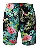 Green Long Leaves Swim Board Shorts Male Swim Trunks Bright Swimming Costume with Pocket for Mens Lining