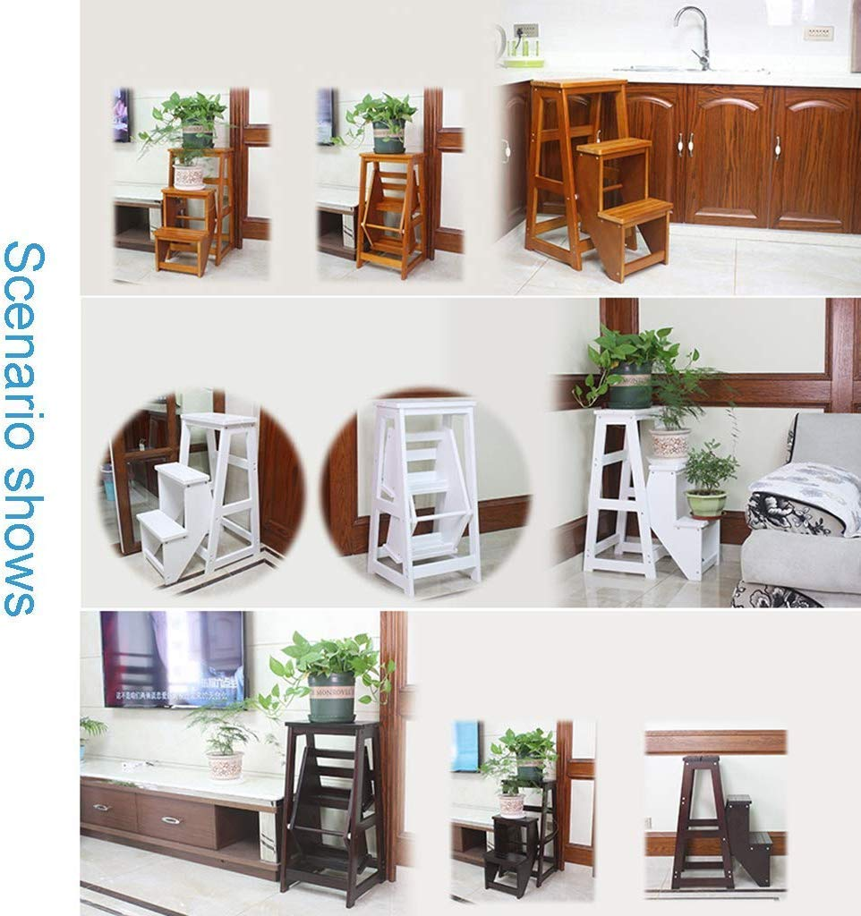 Vuxna stol massivt trä fällbara stolsspedar trappsäte med 3 steg för hemfällor bibliotek/kök/kontor steg höjd 77 cm, spånskiva med handtag, B, (färg: B) b