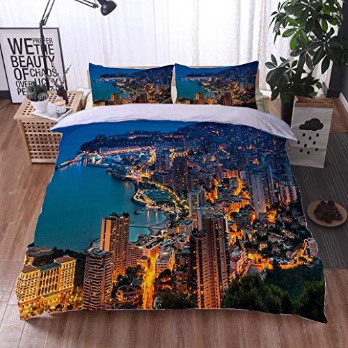 - VROSELV-HOME 3 PCS King Size Comforter Set,Monaco Monte Carlo Aerial View,Soft,Breathable,Hypoallergenic,Luxury Decor Bedding Set 1 Duvet Cover 2 Pillow
