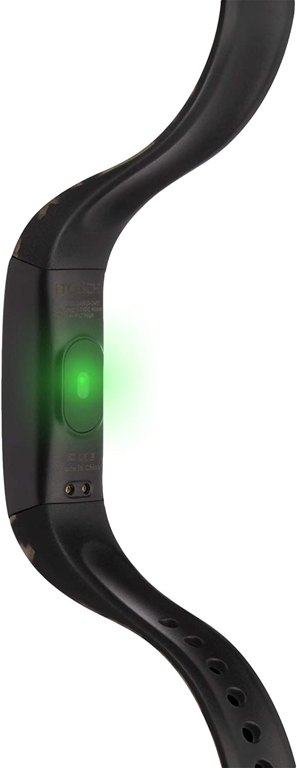 Black Leopard//Black iTouch Slim Fitness Tracker with Interchangeable Strap