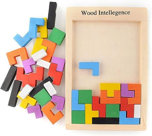 BSD CHANNEL Tangram Puzzle di Legno Tetris Giocattolo di Legno Montessori
