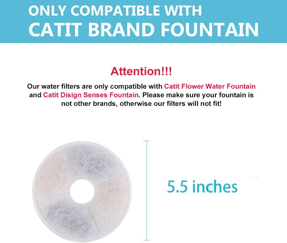 Carbon Water Filter Replacement Compatible w// Catit Fresh /& Clear Fountains 6pk