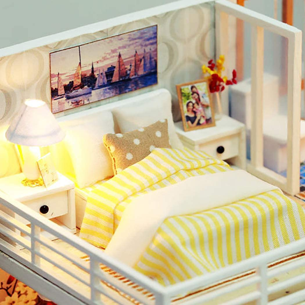 Joyibay Miniature House Kit Villa D/écorative DIY Maison Kit Enfants Dollhouse Miniature