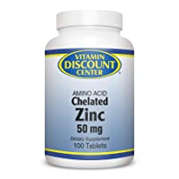 Vitamin Discount Center Chelated Zinc 50 mg, 100 Tablets