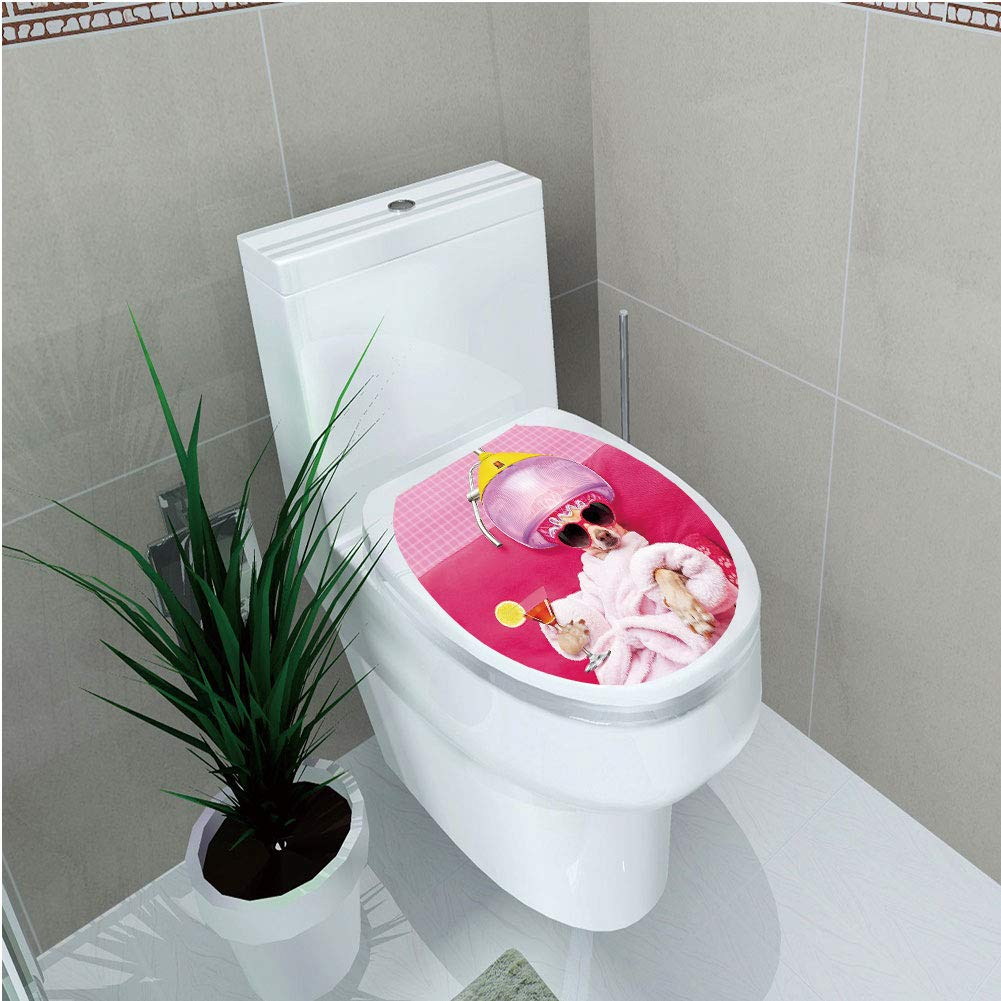Toilet Cover Sticker,Funny,Chihuahua Dog Relaxing and Lying in Wellness Spa Fashion Puppy Comic Print Decorative,Magenta Baby Pink,Custom Sticker,W12.6''xH14.9''