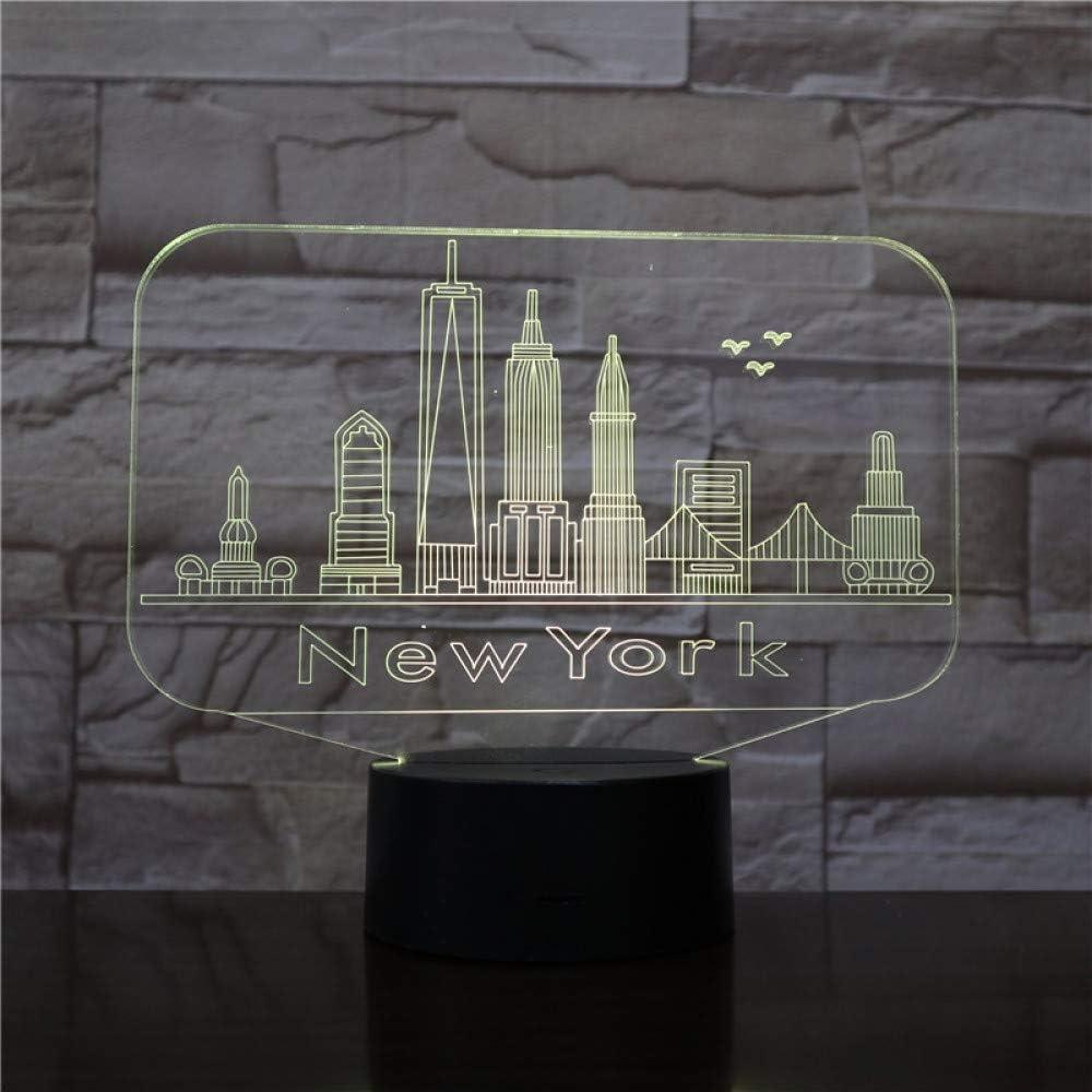 YDBDB Usb 3D Led Night Light City New York Atmósfera Lámpara ...