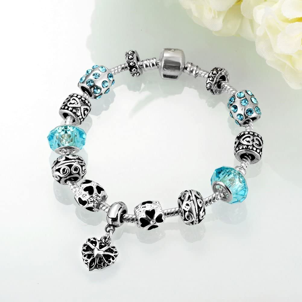FINLN 925Plata esterlina Pulsera Femenino Granos Azules de Cristal de Muranode Bricolajejoyería