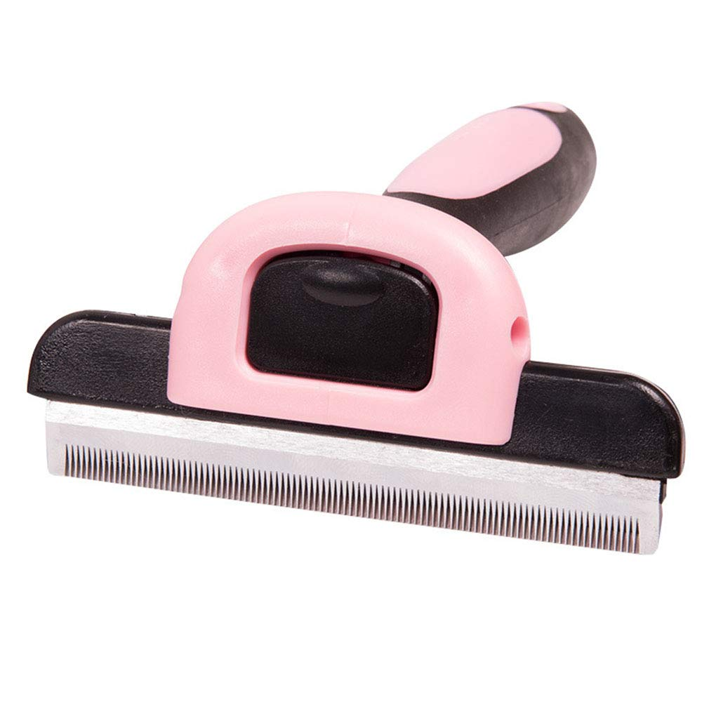Pet Hair Removal Comb- Dog Hair & Cat Hair Shedding Tool with Trimming Blade-Effective Grooming Tool for Cats Dogs with Short Medium Long Fur,Pink,S