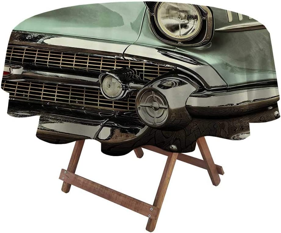 """Tablecloths for Round Tables 1950s Decor Collection for Patio, Picnic, Camping, Spring, Summer Retro Style Image Front of a Green Antique Car American Bumper History Luxury Polished Pattern 60"""""""