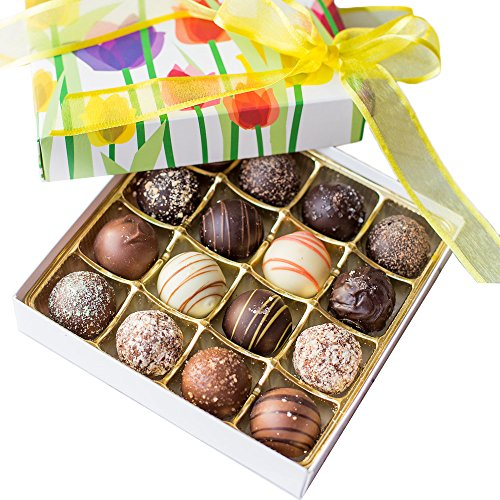 Dark Chocolate Lemon Truffles - Gourmet Chocolate Truffles in Spring Floral Gift-Wrapped Box - Perfect Mother's Day & Spring/Summer Gift, Treat, Snack (16-Piece Truffle Assortment)