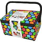 Singer 07278 Multi Bright Dots Large Sewing Basket, Black, Pink, Blue, Purple, Green, Orange, Yellow Circles