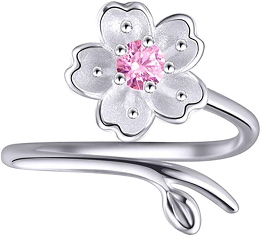 XCFS BEAUTY S925 Anillo de plata de ley con circonita de cerezo flor morada amatista para mujer, banda abierta, ajustable