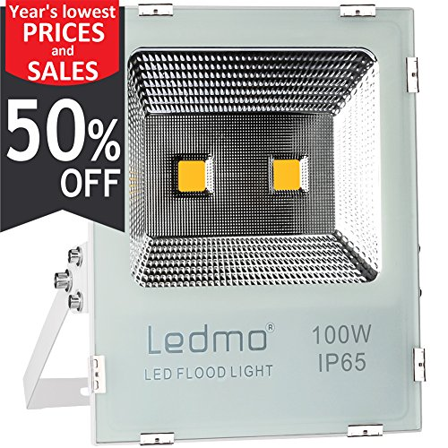 LEDMO 100W LED Flood Light,Super Bright-New Craft-Security Lights,400W Equivalent-Warm (265 Projector Lamp)