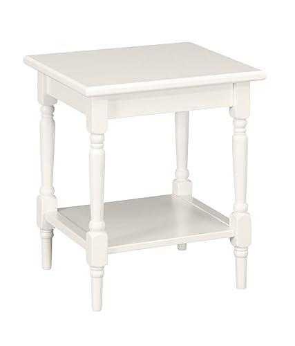 Ravenna Home Angela Modern Turned Leg Side Table, 20 W, White