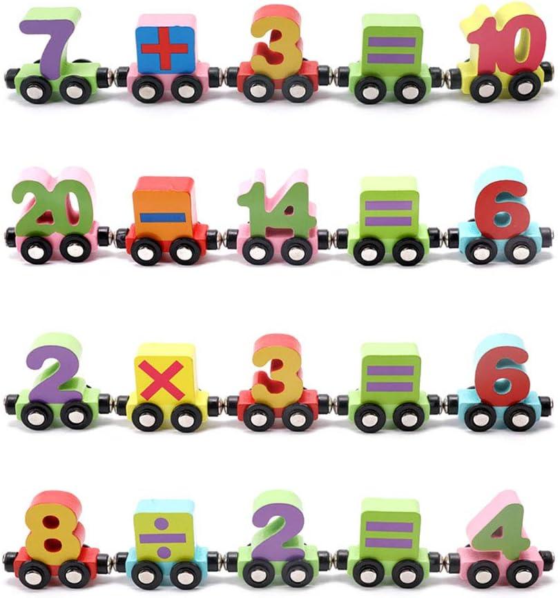 Wooden Train Set 27 Pcs Magnetic Train Cars Alphabets Set Includes 1 Engine