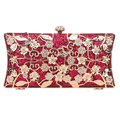Fawziya Floral Clutch Bags For Girls Handbags Wholesale Purses-Fuchsia