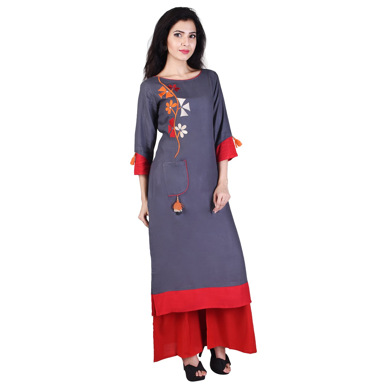 46871fcb718 Indiwest Women s Rayon Embroidered Kurta and Palazzo Set  Amazon.in   Clothing   Accessories