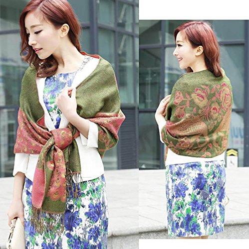 S Cloth Peacock Print Lady Women'S Silk Pashmina Viscose Scarf Wraps Shawl Stole Scarves