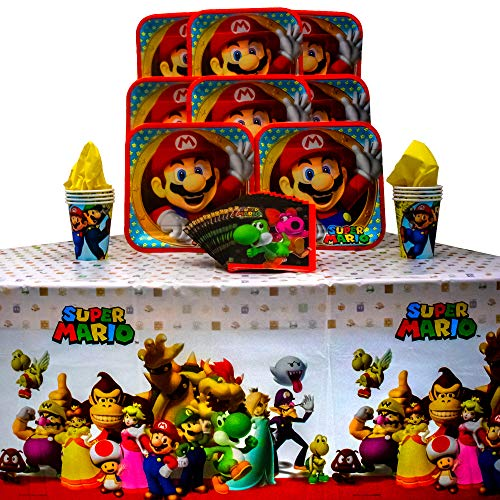 Super Mario Brothers Party Pack Seats 8 - Napkins, Plates, Cups and Tablecloth - Super Mario Brothers Party Supplies, Standard Party Pack