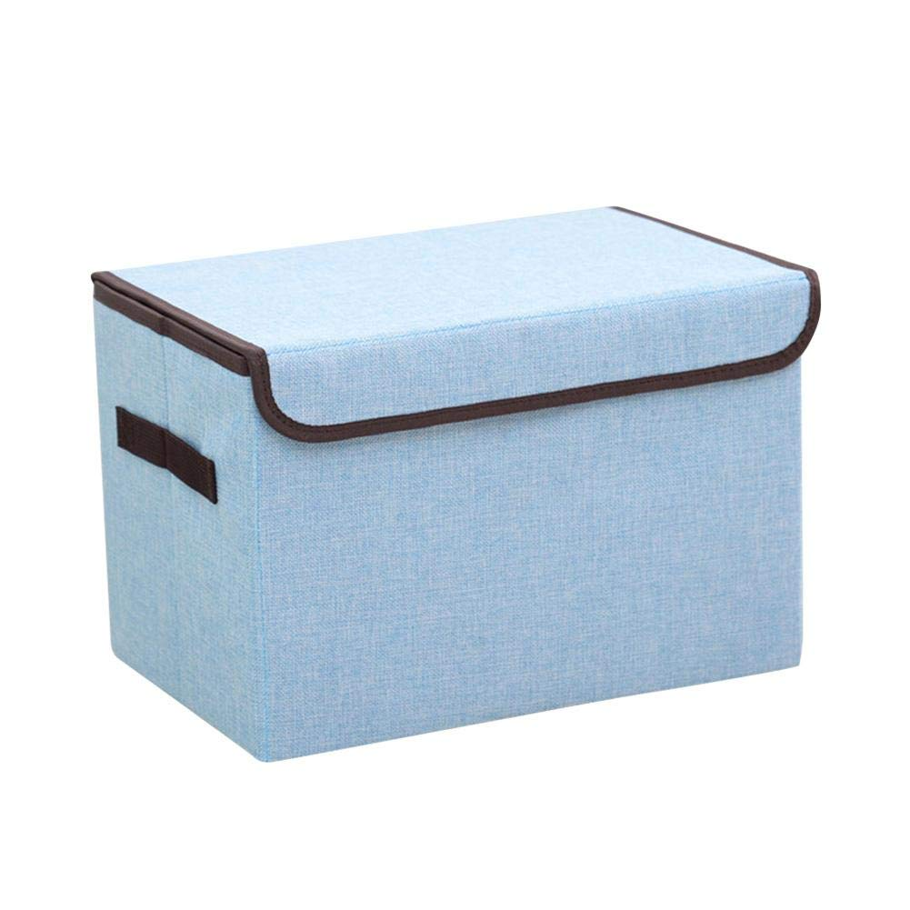 iBaste_S Cotton Linen Storage Box Solid Color Thickened Portable Clothes Toys Organizer Case for Home Student Kitchens
