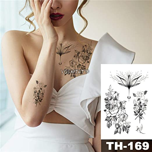 tzxdbh 3 Piezas de Tatuaje Impermeable Palo Rosa patrón de Loto ...