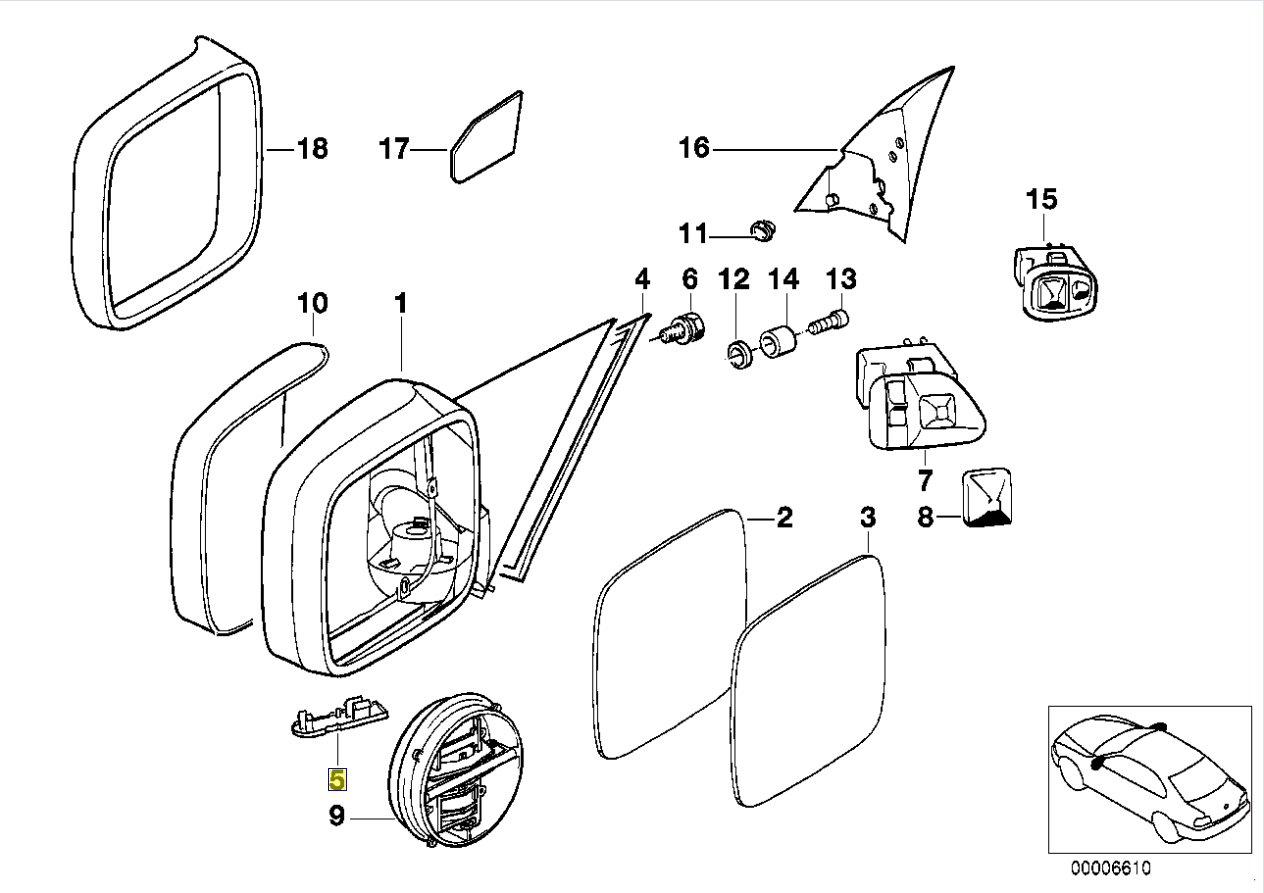 Bmw E34 E36 Door Mirror Wiring Cover Trim Left 8119157 51168119157 Diagram Car Motorbike
