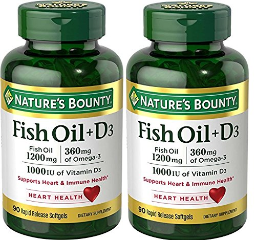 Nature's Bounty Fish Oil 1200 mg + Vitamin D3 1000 IU, 90 Softgels (Packaging May Vary)(Pack of 2)