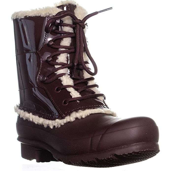 0a03613a13e Hunter Women's Original Patent Leather Lace-Up Shearling Lined Boot