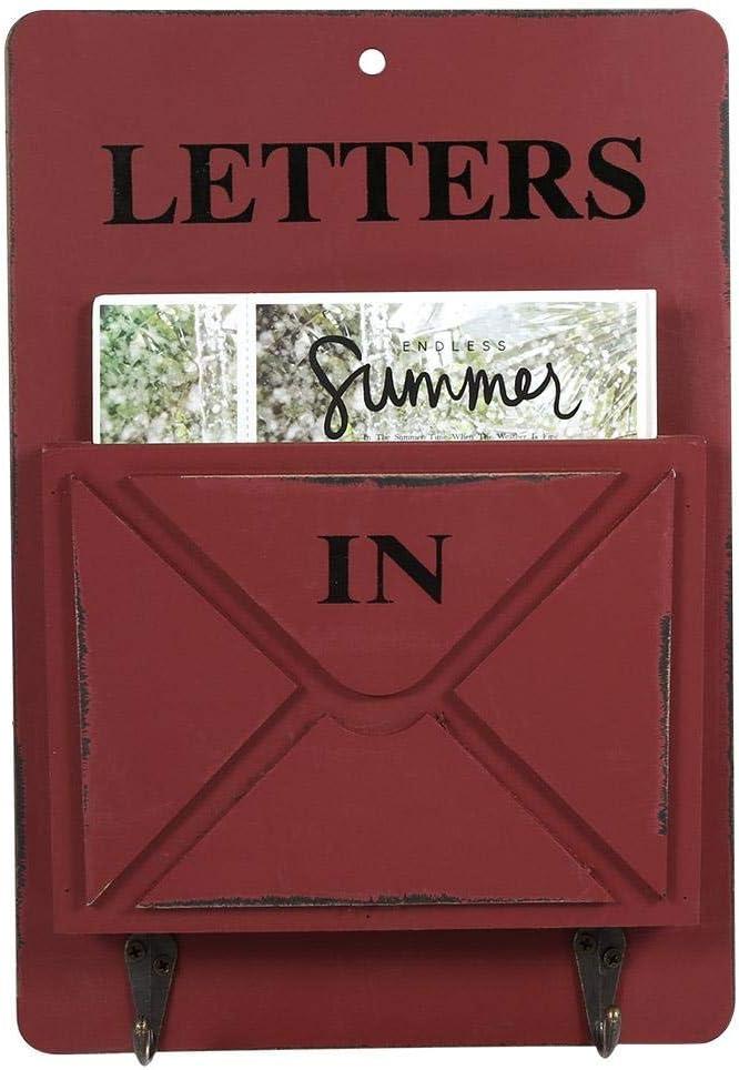 Wood Mail Box Letter Rack Key Holder Wall Storage Creative Home Decoration with Hook Hanger Antilog Letter Rack GREY