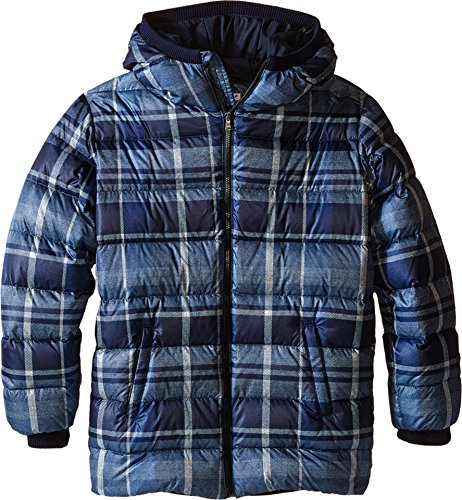 Dolce & Gabbana Kids Boys' Back to School Nylon Check Coat, Blue Print, 8 (Big (Dolce & Gabbana Print Coat)