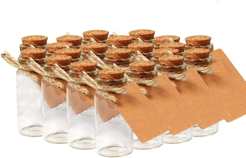 OurWarm 48pcs 25ml Glass Bottles with Cork Stoppers, Mini Small Glass Bottles, Clear Vials Glass Favor Jars with Tags and Strings for Wedding Favors DIY Crafts Baby Shower Birthday Home Decorations