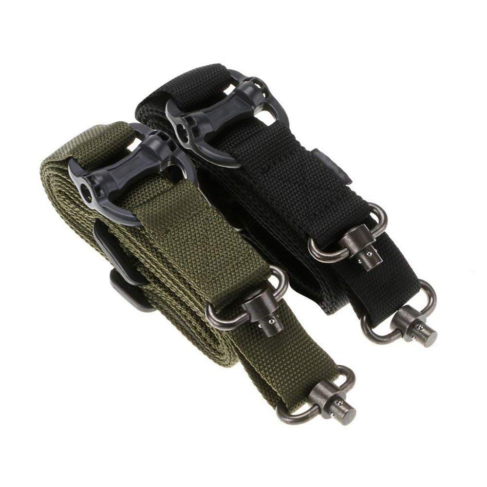 iFun iCool 2 Pack MS4 Style Military Tactical Safety Two Points Outdoor Belt Sling Adjustable Strap Green & Black