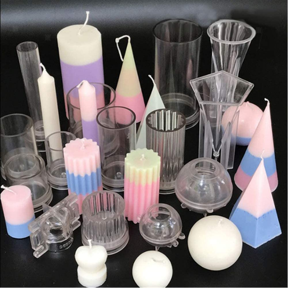 Wedding Supplies 6 Shapes DIY Handmade Soap Molds Plastic Candle Molds for Making Candles Round Ball-5cm