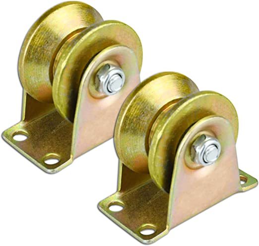 U-Type Groove Wheel Sliding Gate Roller U-Type Groove Wheel 2PCS 2 inch Heavy Duty Rigid Caster with Bracket for Patio Sliding Doors Rolling Gate Industrial Machinery Max Loading Capacity 660 Lbs