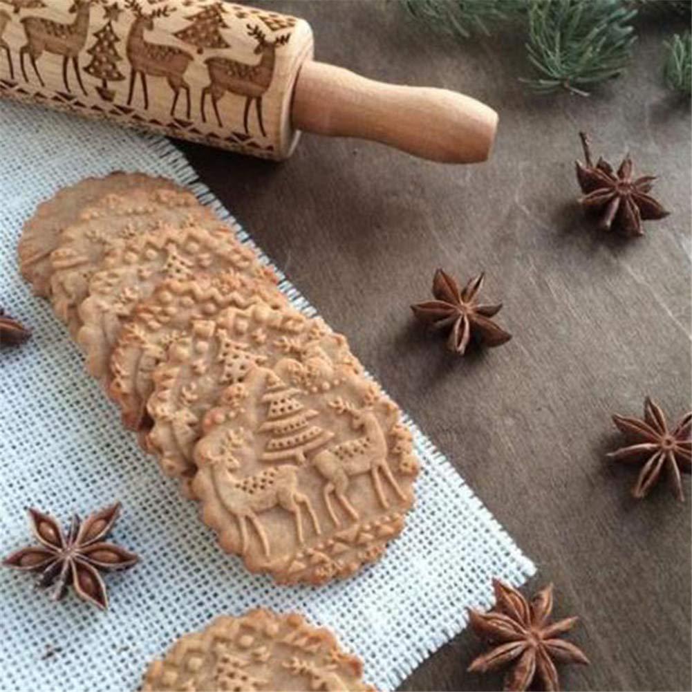 Zeagro Racchetta da Natale in Legno 2 pacchi Rullini per Incisione con Motivo di Cervi Natalizi incisi Rulli per goffratura a Tema Natale Simboli Natalizi per Biscotti in Rilievo in Rilievo
