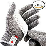 XHSJ Cut Resistant Gloves in High Performance EN388 Certified Level 5 Protection Food Grade Kitchen Glove for Hand Safety & Hand Guard One Pair 4 Size Available! (Extra Large)