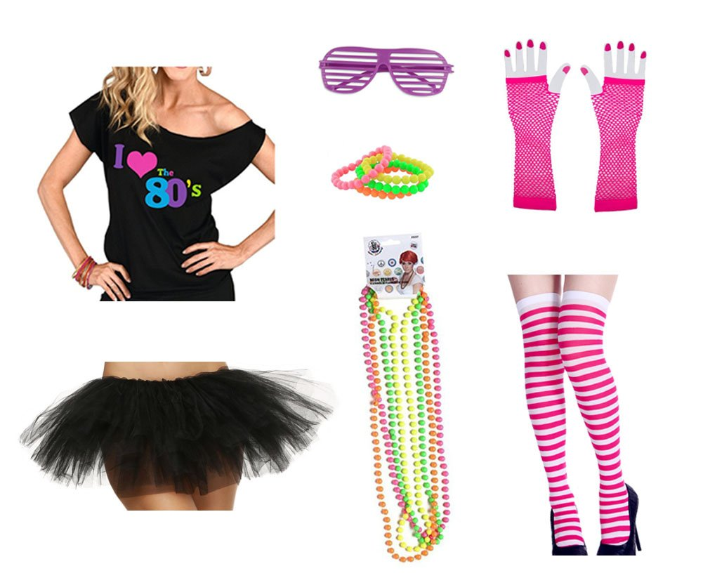 80s Outfit Costume Accessories Set I Love 80's T-Shirt Tutu Skirt Stockings Fishnet Gloves Glasses Bracelet and Necklaces (3XL, Black)