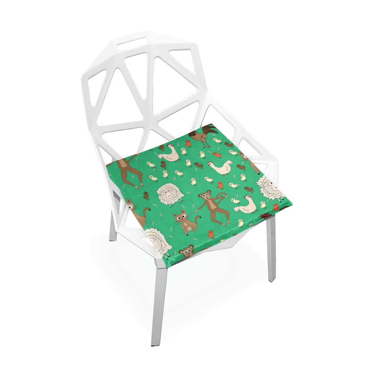 SUABO PLAO Chair Pads Pattern with Animals Soft Seat Cushions Nonslip Chair Mats for Dining, Patio, Camping, Kitchen Chairs, Home Decor