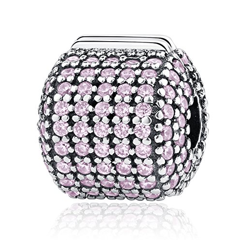 Clip Snake (BAMOER 925 Sterling Silver Various Dazzling CZ Bead Charm for Women Snake Bracelet Charm (Pink Clip Lock))