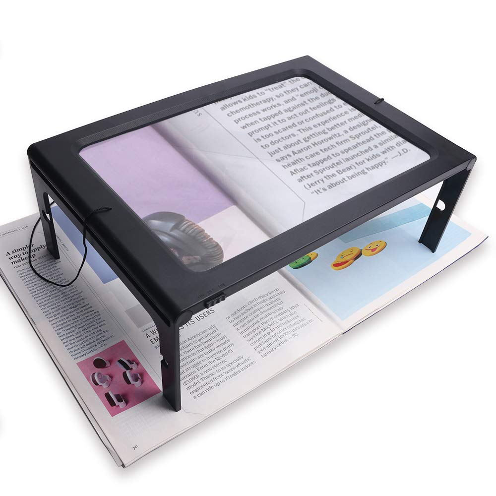 A4 Full-Page Rectangular 2.5X Magnifier Large Hands-Free Magnifying Glass LED Lighted Illuminated Foldable Desktop Portable for Elder Kids by ZHIYI