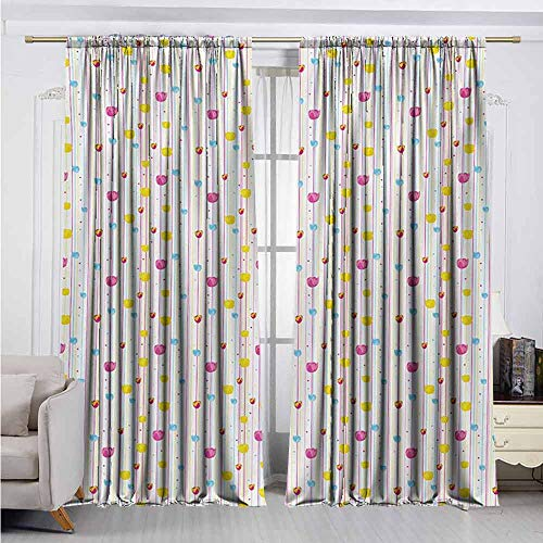 Yellow and Blue Wear-Resistant Color Curtain Vertical Thin Stripes with Little Flowers and Colorful Tulips Waterproof Fabric W42 x L84 Inch Pink Yellow Pale Blue (Pink Silk Taffeta Curtains)