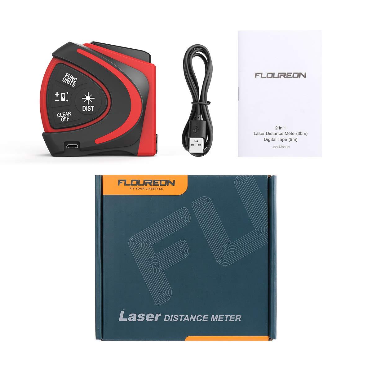 Metri a Nastro Laser Protezione Antipolvere e IP54 Display LCD Misura Nastro 5m // 16ft FLOUREON 2 in 1 Metri a Nastro Laser Digitale con Misurazione Laser 30m // 98ft Carica USB