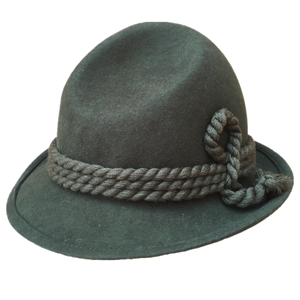 Green German Tyrolean Hat Oktoberfest Wool Felt Bavarian Alpine Chapeau Fedora Rope Hat