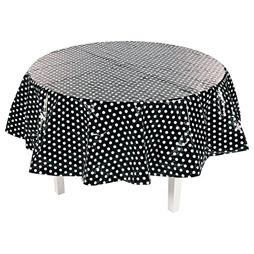 Fun Express - Black Polka Dot Round Plastic Tablecover - Party Supplies - Table Covers - Print Table Covers - 1 Piece]()