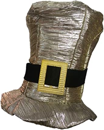 Shiny Gold Silver Metallic Tall Top Hat Adult Mens Womens Costume Accessory