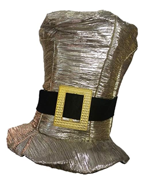 3fb43a3808a Shiny Gold Silver Metallic Tall Top Hat Adult Mens Womens Costume Accessory   Amazon.ca  Clothing   Accessories