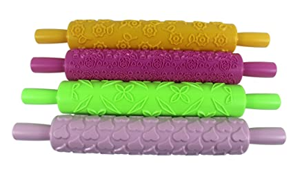 Hillento Pattern Embossed Rolling Pin Fondant Cake Paste Gum Sugar  Decorating Tool, Ideal for Fondant, Pastry, Icing, Clay, Dough - Best Kit,  4