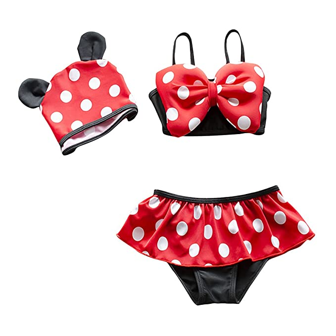 9a0405786b WINZIK Baby Girls Swimwear 3pcs Cute Polka Dots Bikini Toddler Kids Tankini Swimsuit  Beachwear Bathing Suit
