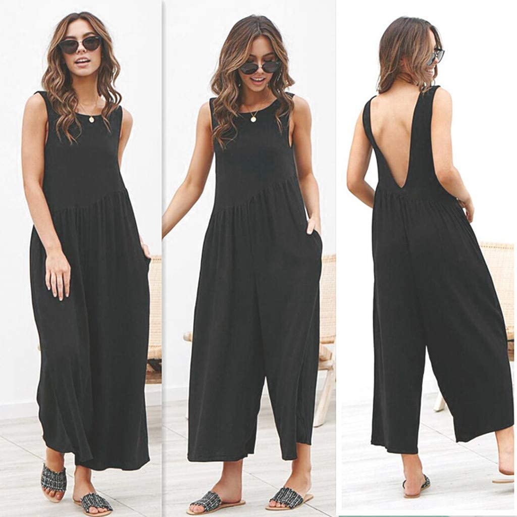 miqiqism Women Baggy Jumpsuits Summer Casual Sleeveless Backless Solid Wide Leg Capri Pants Party Beach Rompers with Pockets