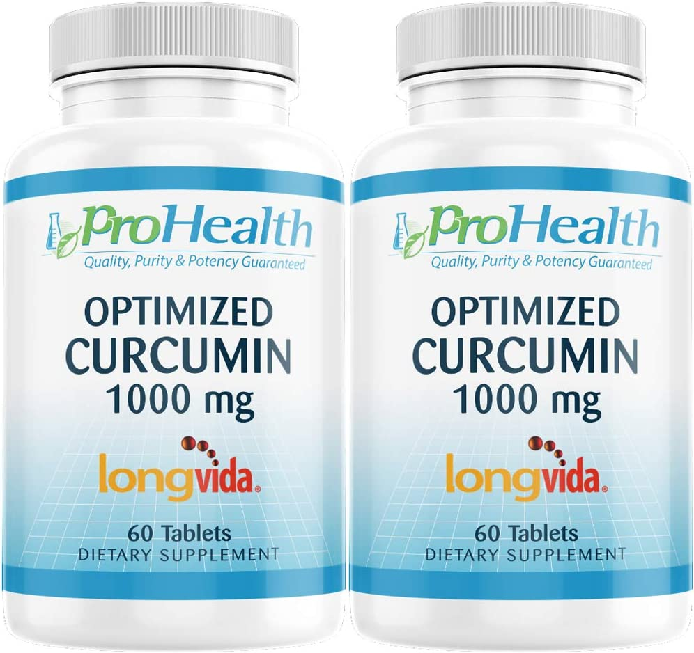 ProHealth Optimized Curcumin Longvida 2-Pack 1000 mg, 60 Tablets per Bottle 285x More Bioavailable Joint Health Memory and Cognition Anti-Inflammatory Antioxidant Supplement